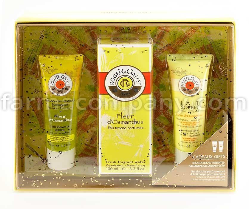 Cofre regalo que contiene Agua Fresca Perfumada Fleur d\'Osmanthus 100 Ml, con crema de ducha y leche corporal de 50 ml.