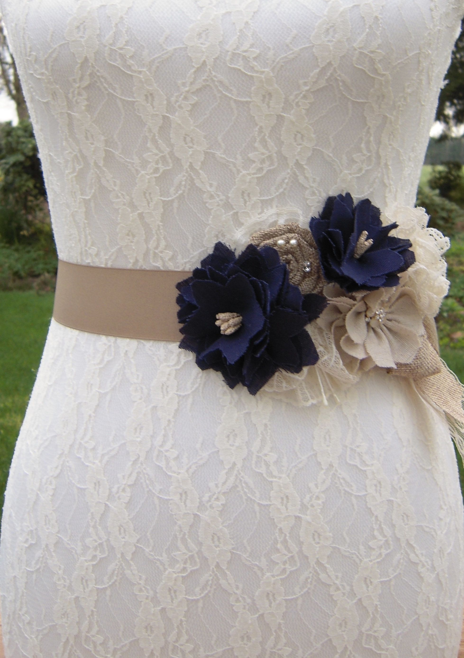 Rustic Navy Wedding Dress Sash Belt Country Chic Beige And Navy