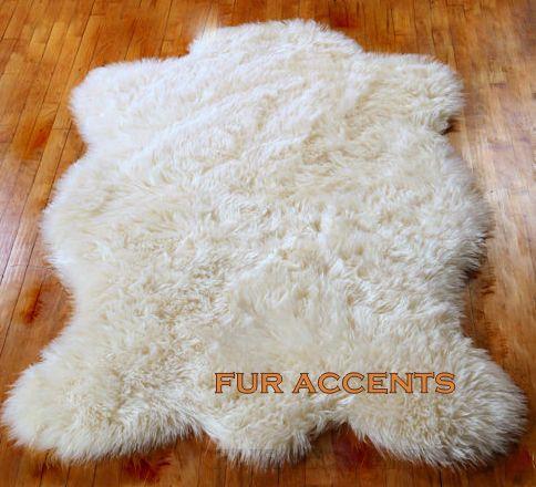 "shaggy 60"" faux fur bright white sheepskin bear skin pelt rug"