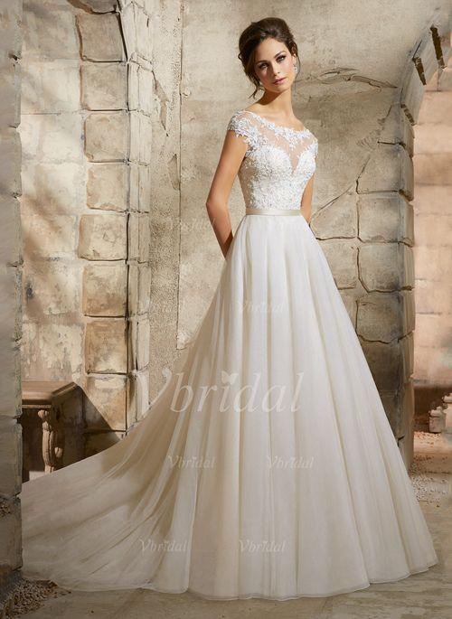 Bröllopsklänningar - $195.21 - A-linjeformat Rund-urringning Chapel släp Tyll Bröllopsklänning med Applikationer Spetsar (0025088675)