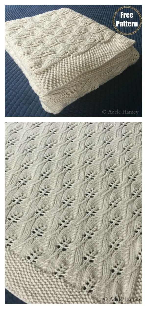 Photo of Lace Leafy Baby Blanket Free Knitting Pattern