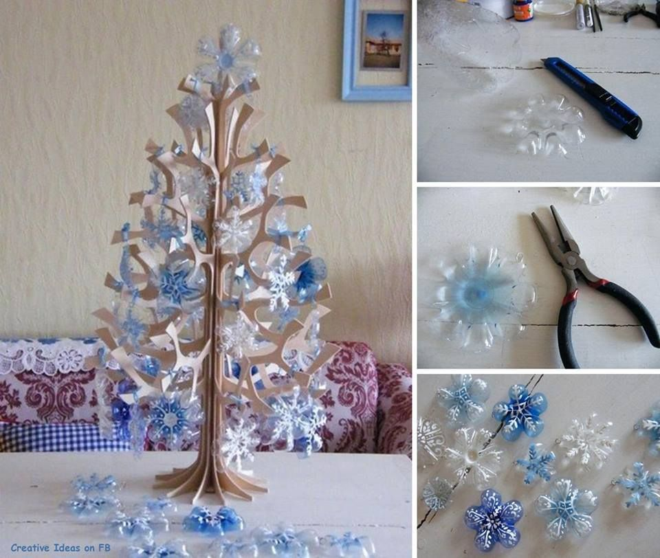 DIY Snowflakes from a Plastic Bottle