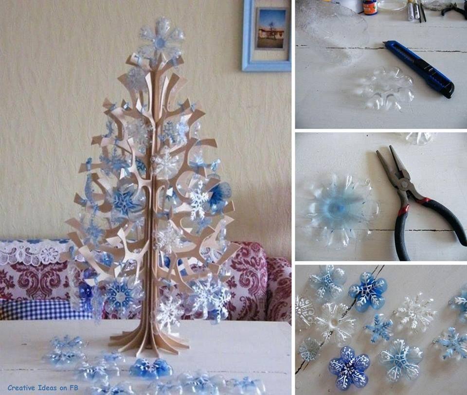 DIY Pretty Snowflake Ornaments from Plastic Bottles u003e