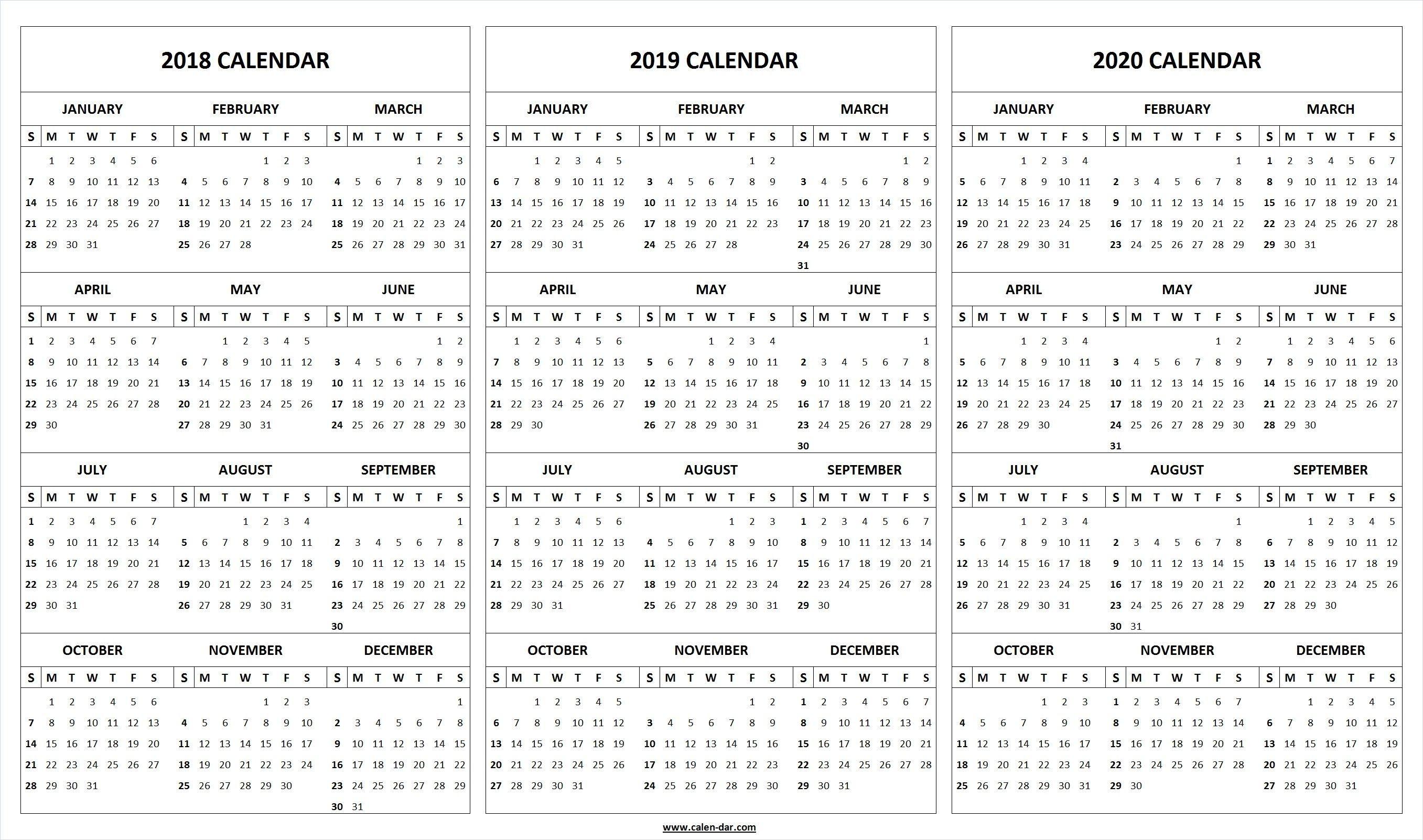 Extraordinary 3 Year Printable Calendar 2019 To 2020 In 2020 Calendar Printables Excel Calendar Template Marketing Calendar Template