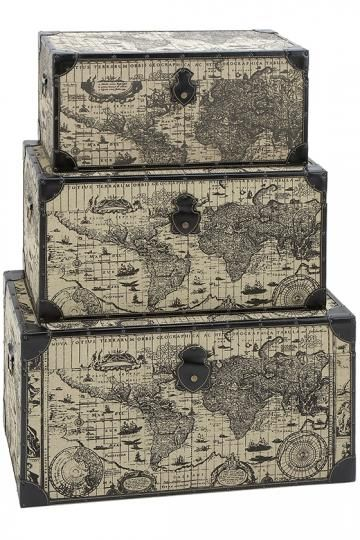 Decorative Trunk Boxes Classy Traveler Storage Trunks  Set Of 3  Decorative Storage Boxes Decorating Design