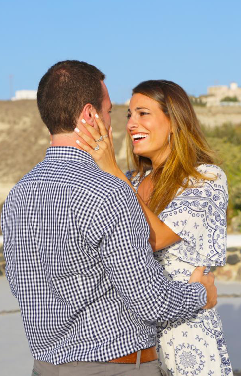 She was beyond surprised when he asked her to marry him in Santorini! Read all about this incredible story on @platinumjewelry.