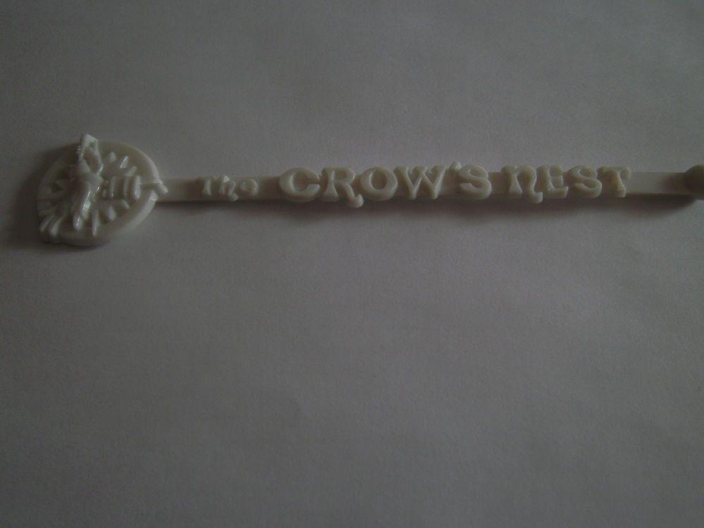 Crow's Nest Swizzle Stick Drink Stirrer White Plastic Crow with Scope Seattle?