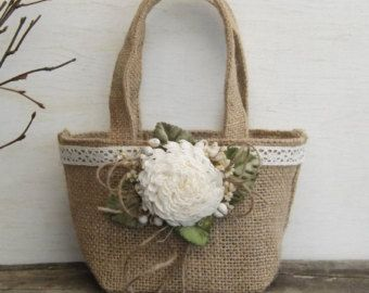 Burlap Flower Girl Basket Rustic with Sola Flower Lace and Twine Made to Order