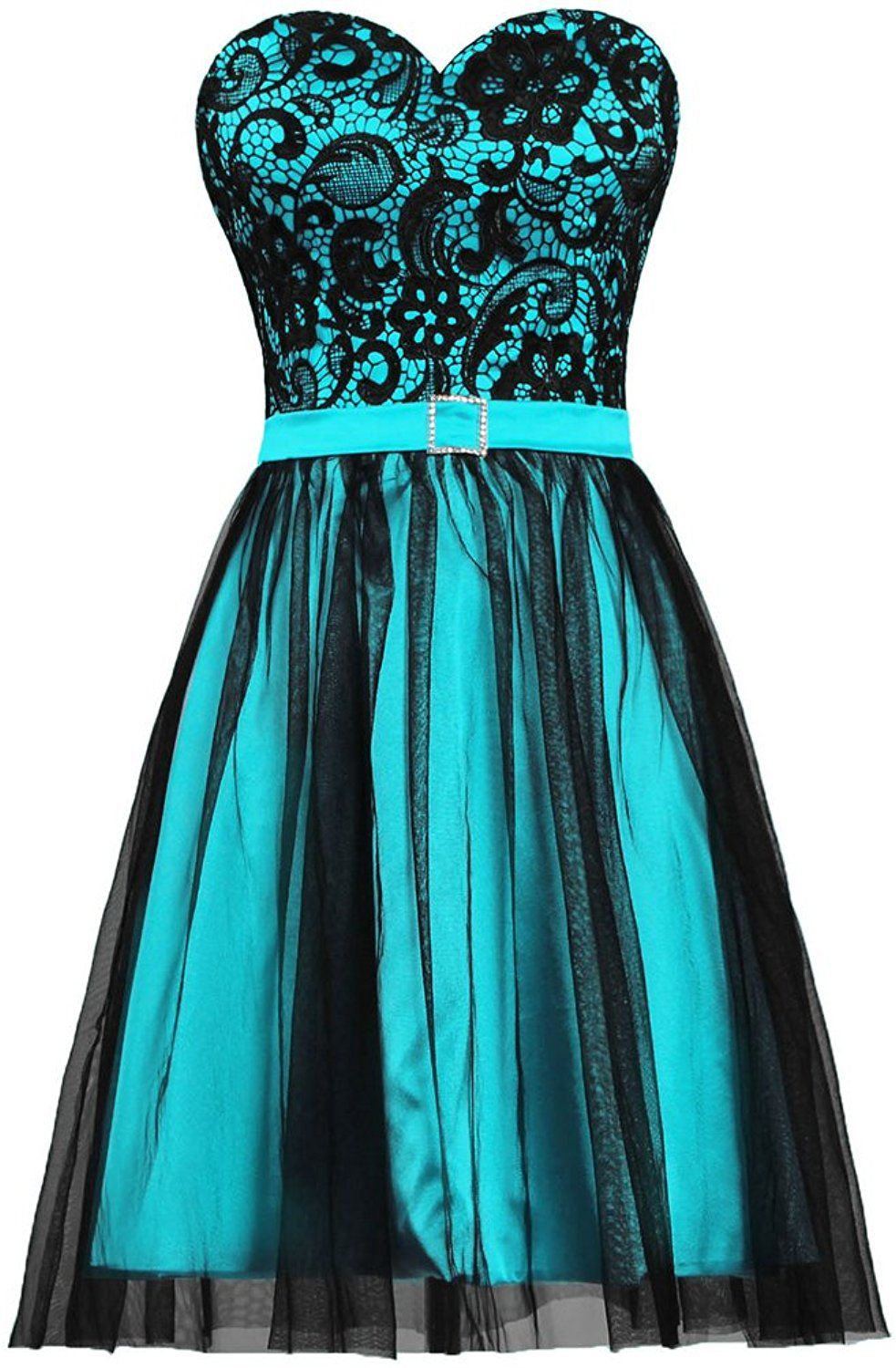 ANTS Women\'s Black Tulle Lace Evening Prom Dress Short Party Dress ...