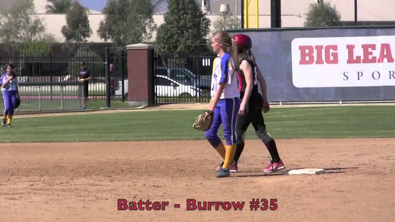 Emily Burrow Double & Sliding Home to Score Vs Minors