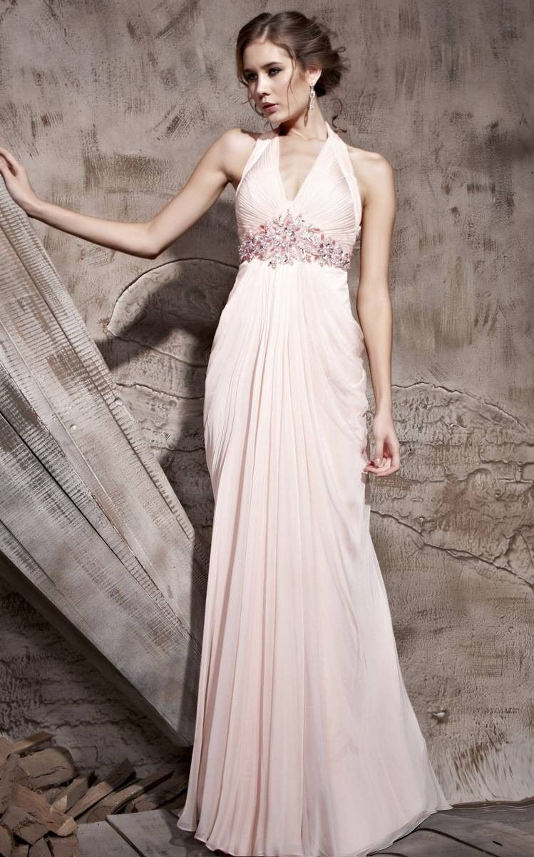Pleated halter strap light pink prom dress inspires amazing