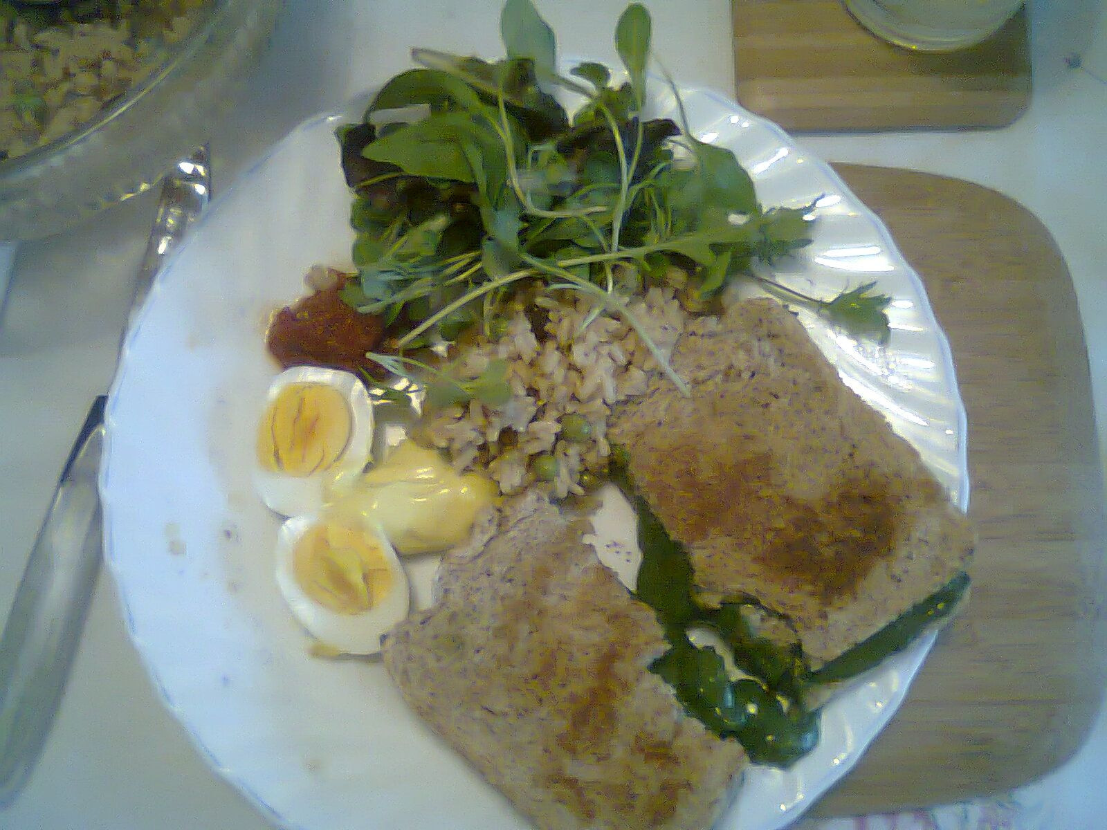My copycat version of St Martin's Tearooms Spinach and Cheese Toastie - homemade bread, homemade mayo, our hard boiled eggs, salad, homemade salsa, homemade brown rice salad. DELISH!