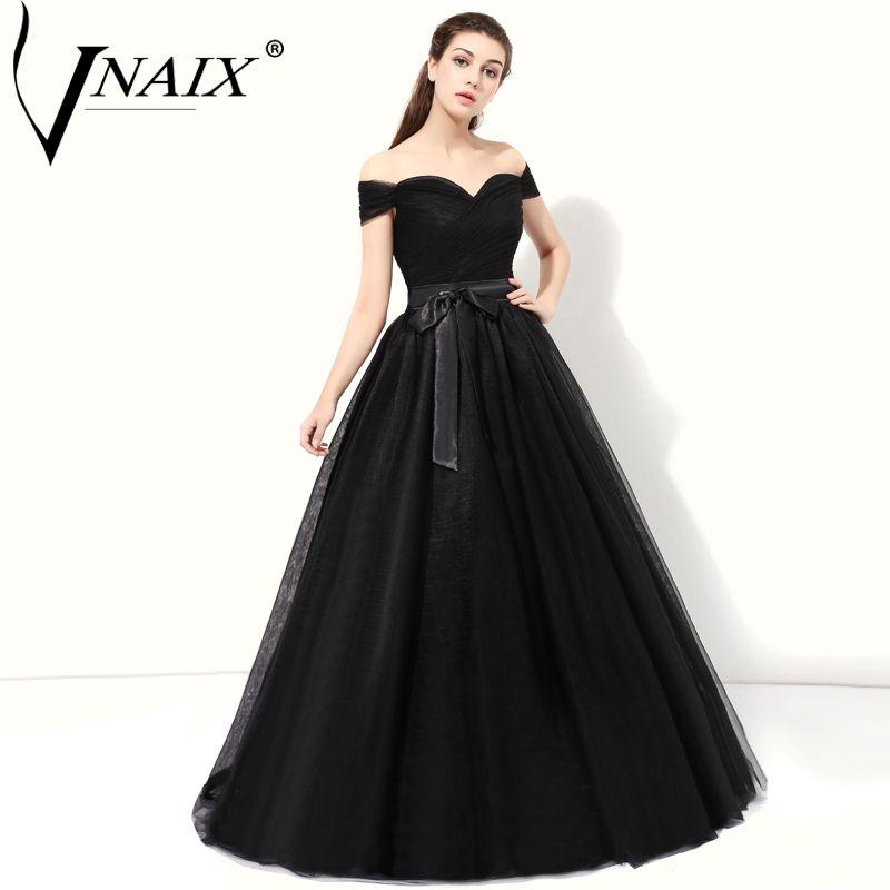 Vnaix DE286 Simple Tulle Evening Dresses Elegant Black Formal Women ...