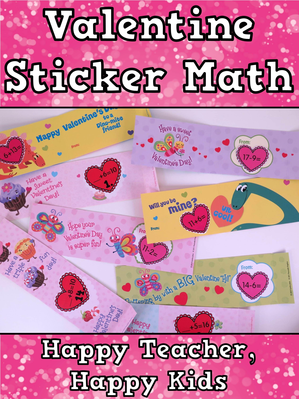 Free Valentine Sticker Math Addition Subtraction Missing Addends