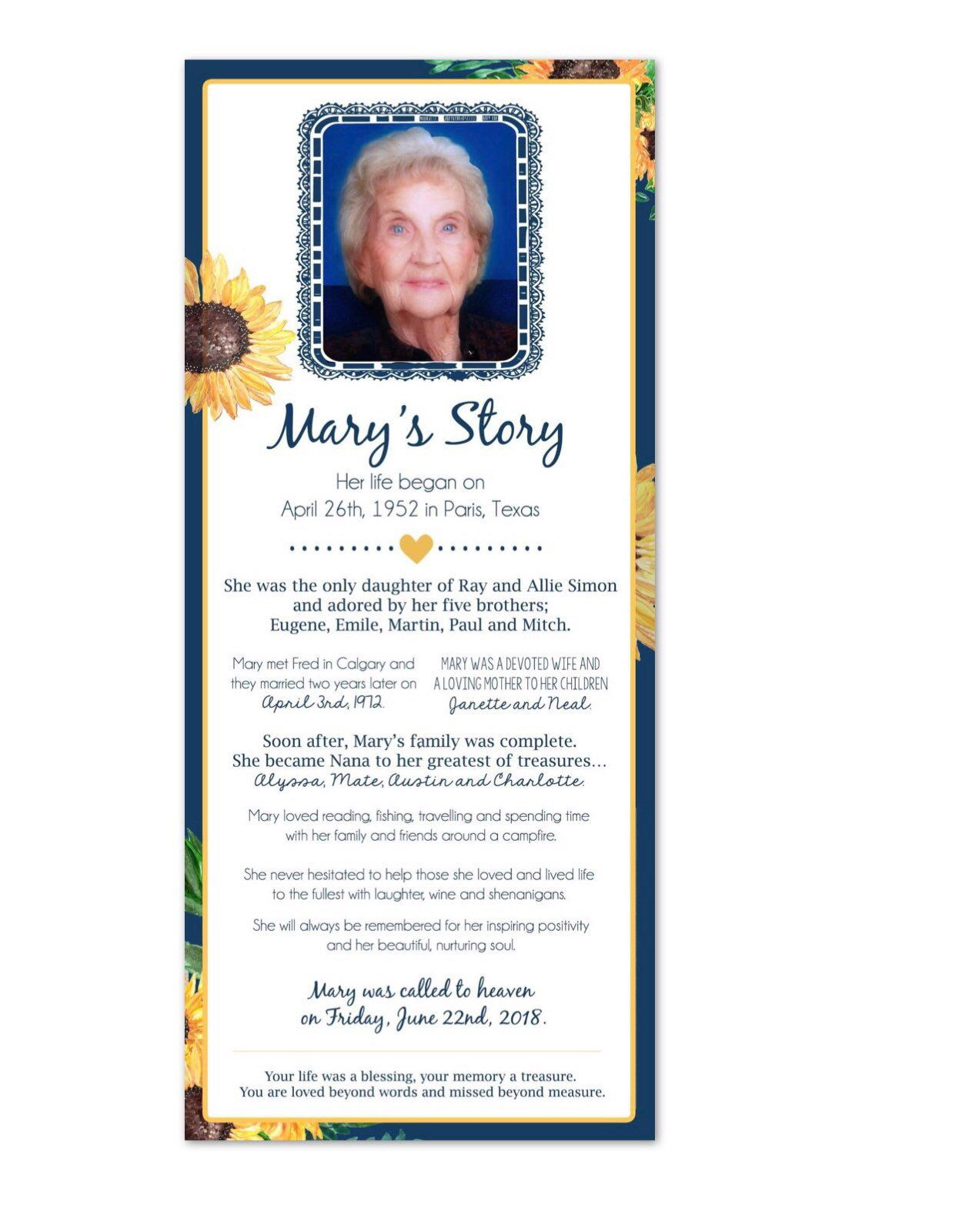 Sunflower And Blue Funeral Program