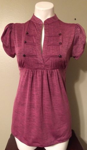 Heart-Soul-Size-M-Purple-Short-Sleeve-Blouse