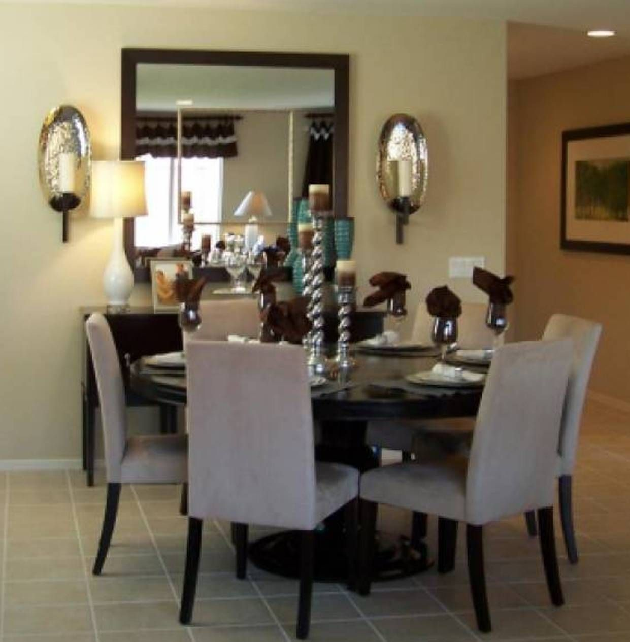 Small Dining Room Decorating With Square Mirror Mirror Dining Room Dining Room Small Small Dining Room Decor