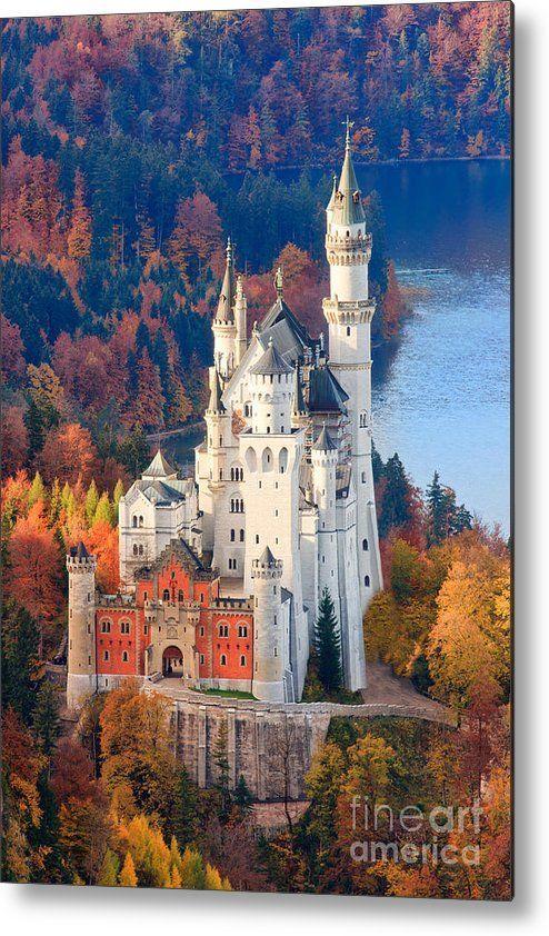 Neuschwanstein Castle In Autumn Colours 1 Metal Print by Henk Meijer Photography #castles