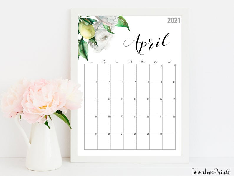 2021 Calendar, Watercolour Calendar 2021, Botanical Wall Calendar