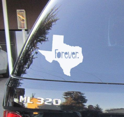 Texas forever tx home state vinyl car decal or bumper sticker