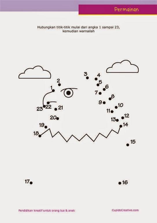 Belajar Paud Urutan Angka Dengan Lembar Permainan Dot To Dot
