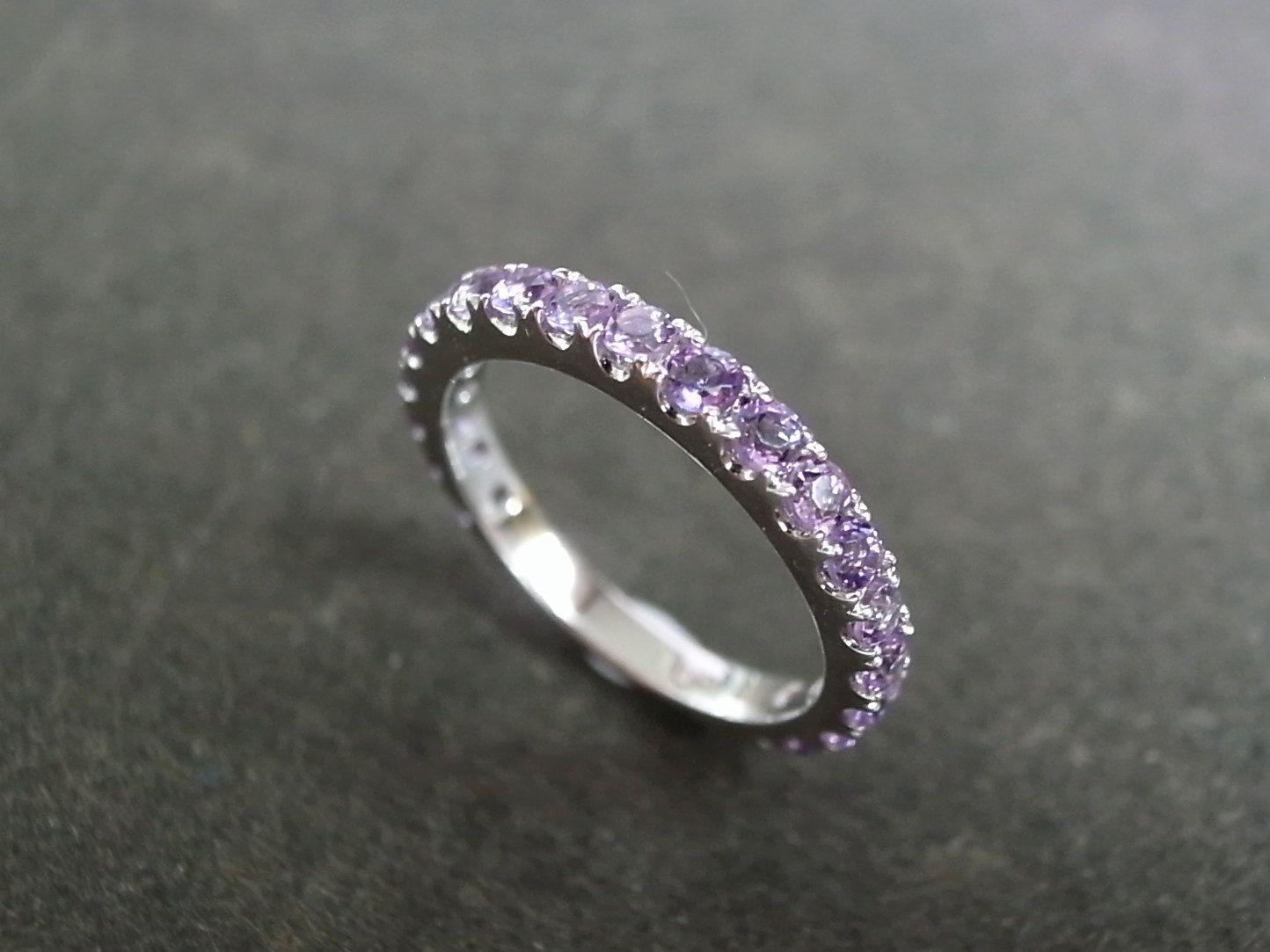 Amethyst Wedding Ring in 14K White Gold. $440.00, via Etsy.