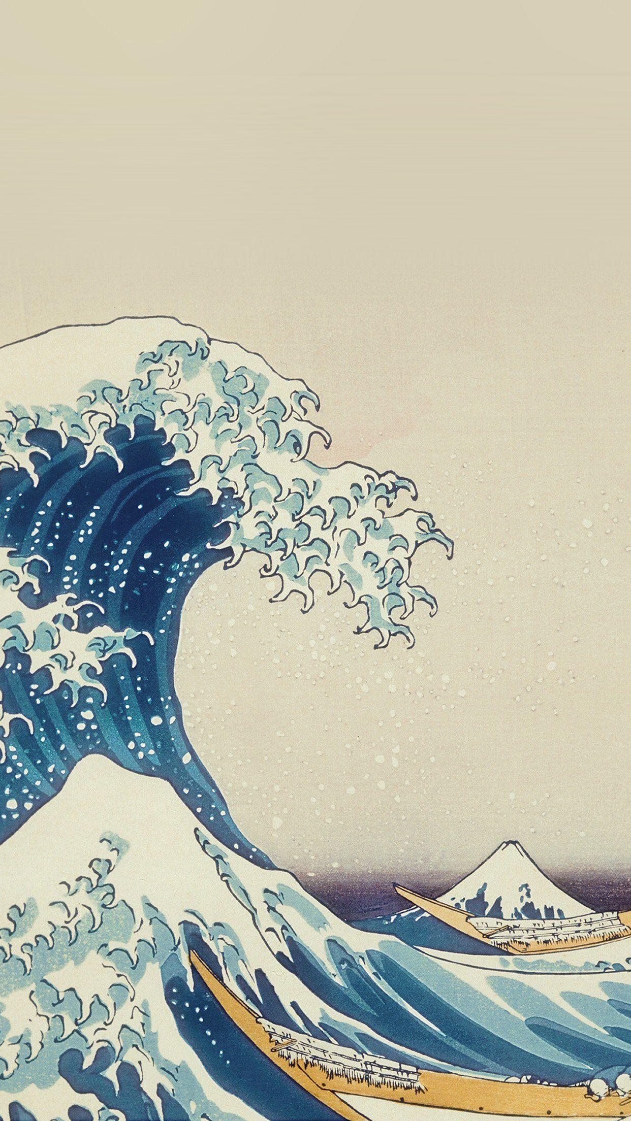 cool wave art hokusai painting classic artillustration