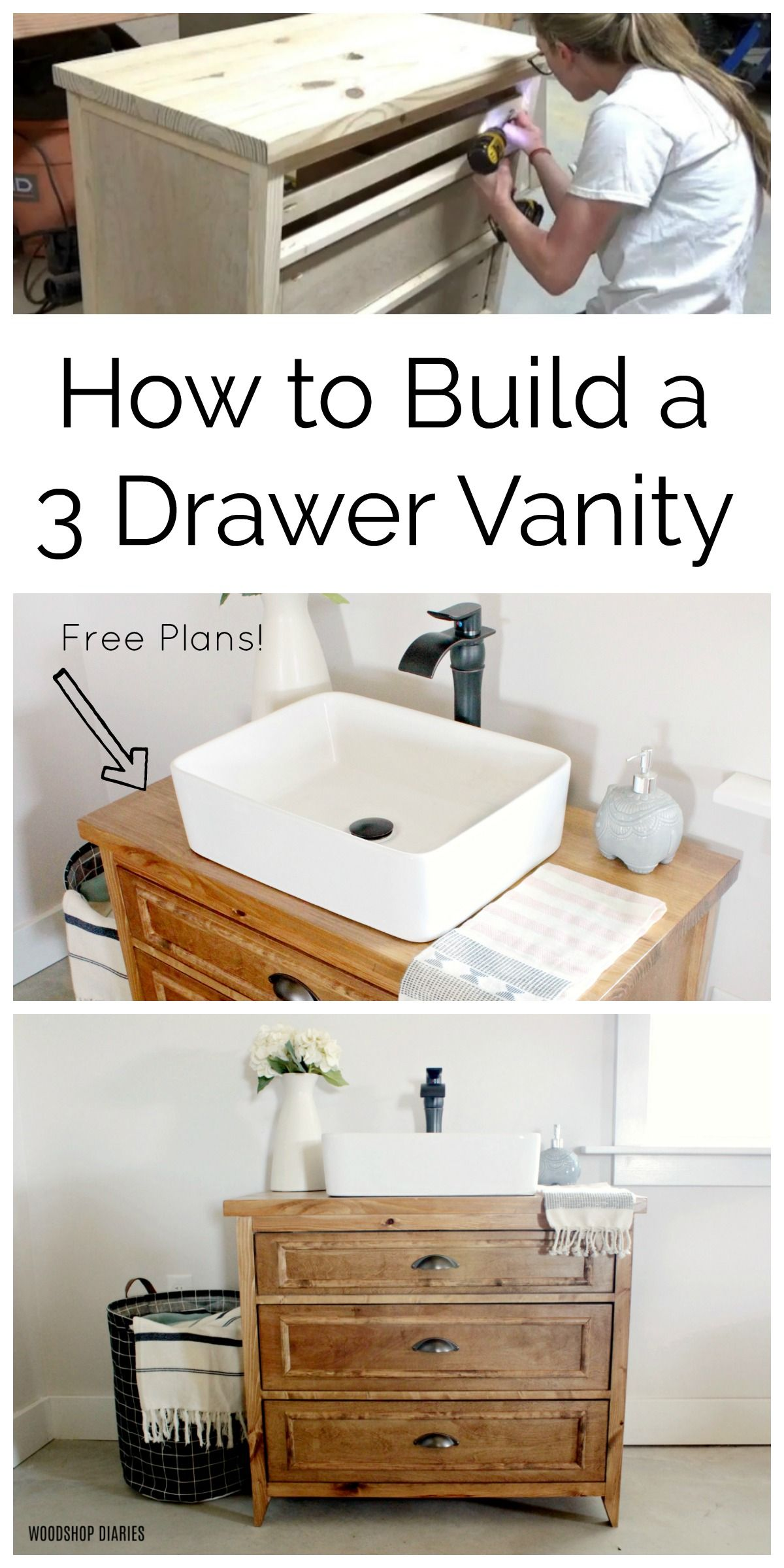 How To Build A Diy Vanity With Drawers Free Plans And Video Bathroom Sink Vanity Small Bathroom Vanities Wood Bathroom Vanity [ 2400 x 1200 Pixel ]