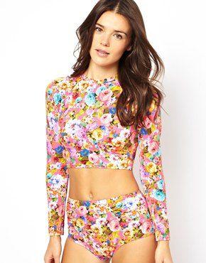8b53c8779d ASOS Savannah Floral Long Sleeve Crop Top   hair & style   Crop tops ...