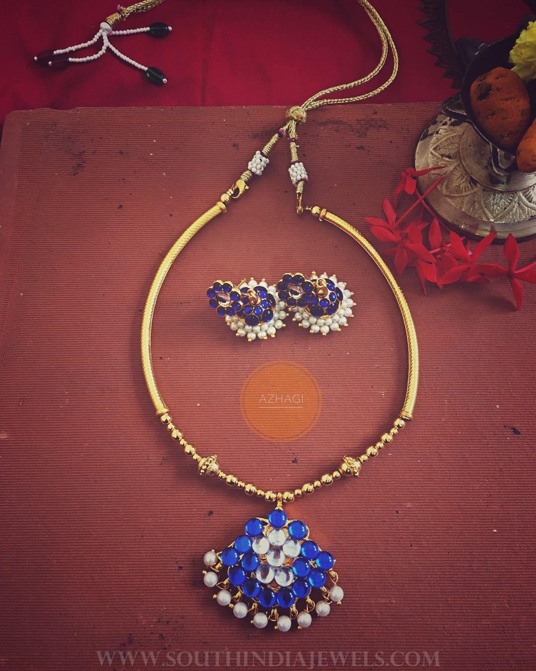 Blue kemp attigai necklace set ornamet pinterest necklace set