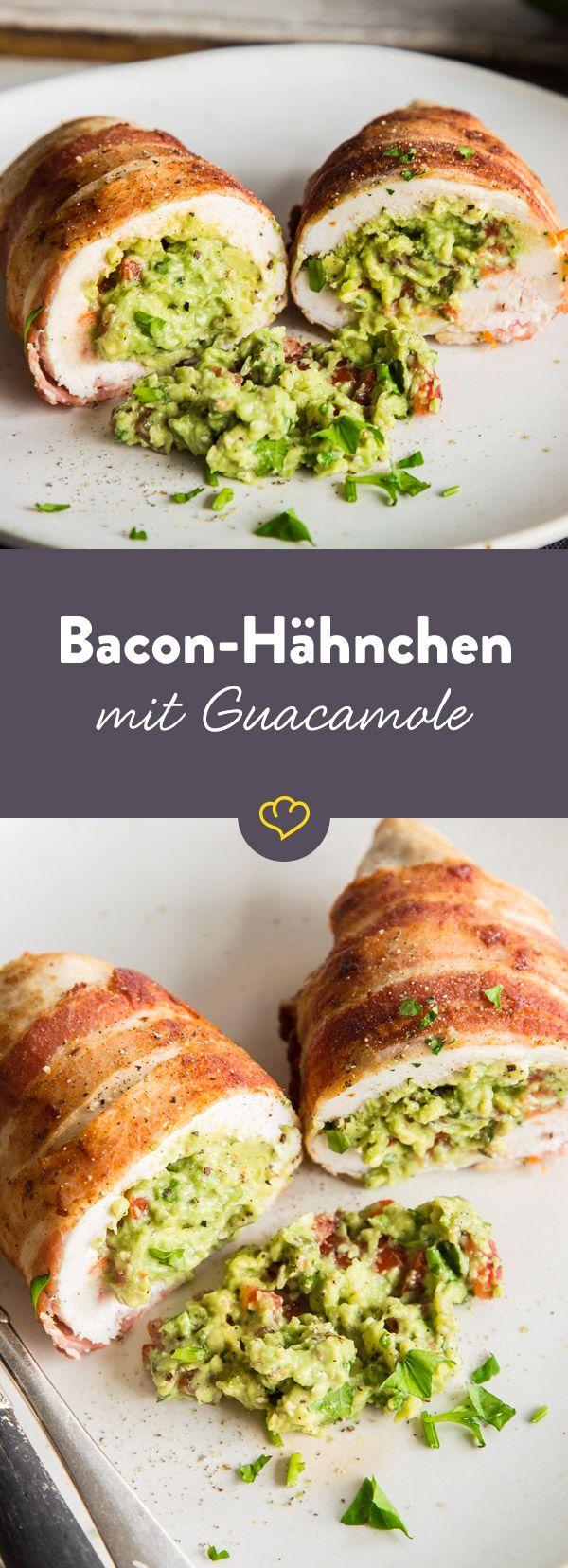 Saftiges Bacon-Hähnchen mit Guacamole-Füllung | Rezept ...