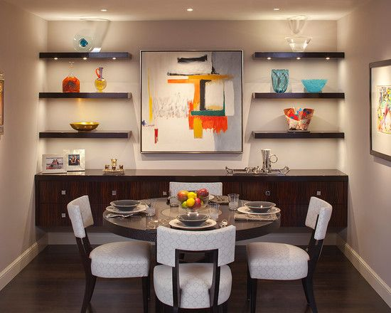 Wall Mounted Shelves In Dining Room Design Pictures