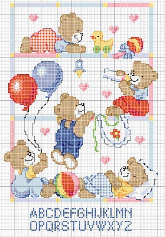 Punto de cruz osos patrones gratis - Imagui | Bebé - punto cruz ...