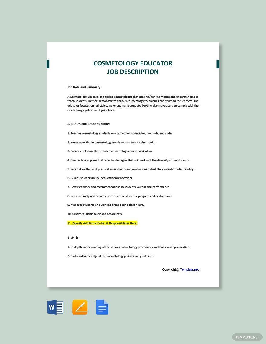 Cosmetology Educator Job Description Template [Free PDF