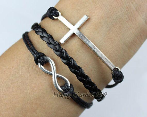 Infinity & Cross braceletAntique SilverWax Cords by happygarden999, $5.99