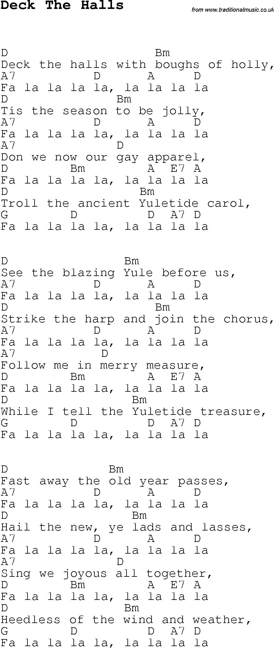 Christmas Carol Song Lyrics With Chords For Deck The Halls Christmas Ukulele Songs Ukulele Music Music Chords