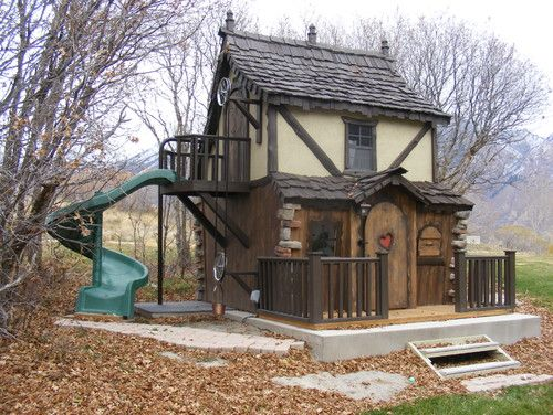Bavarian Cottage Playhouse - if only I had an extra 8k. Man I would so make this for my kids if I had the money.....