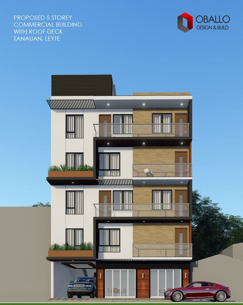 5 Storey Commercial Building With Roof Deck In Tanauan Leyte Philippines Modern House Modern House Design House Design