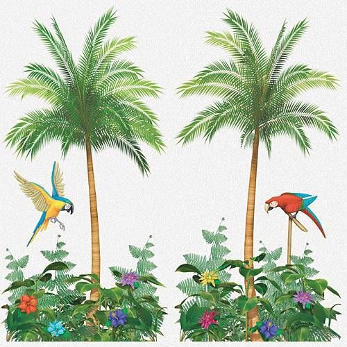 LUAU BACKRDOP Scene Setter Wall SUNSET Party Room Decorations Palm Trees Lei