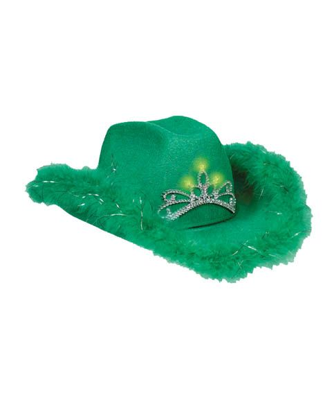 St. Patrick\'s Day Green Light Up Cowgirl Hat W Trim | St Patrick\'s ...