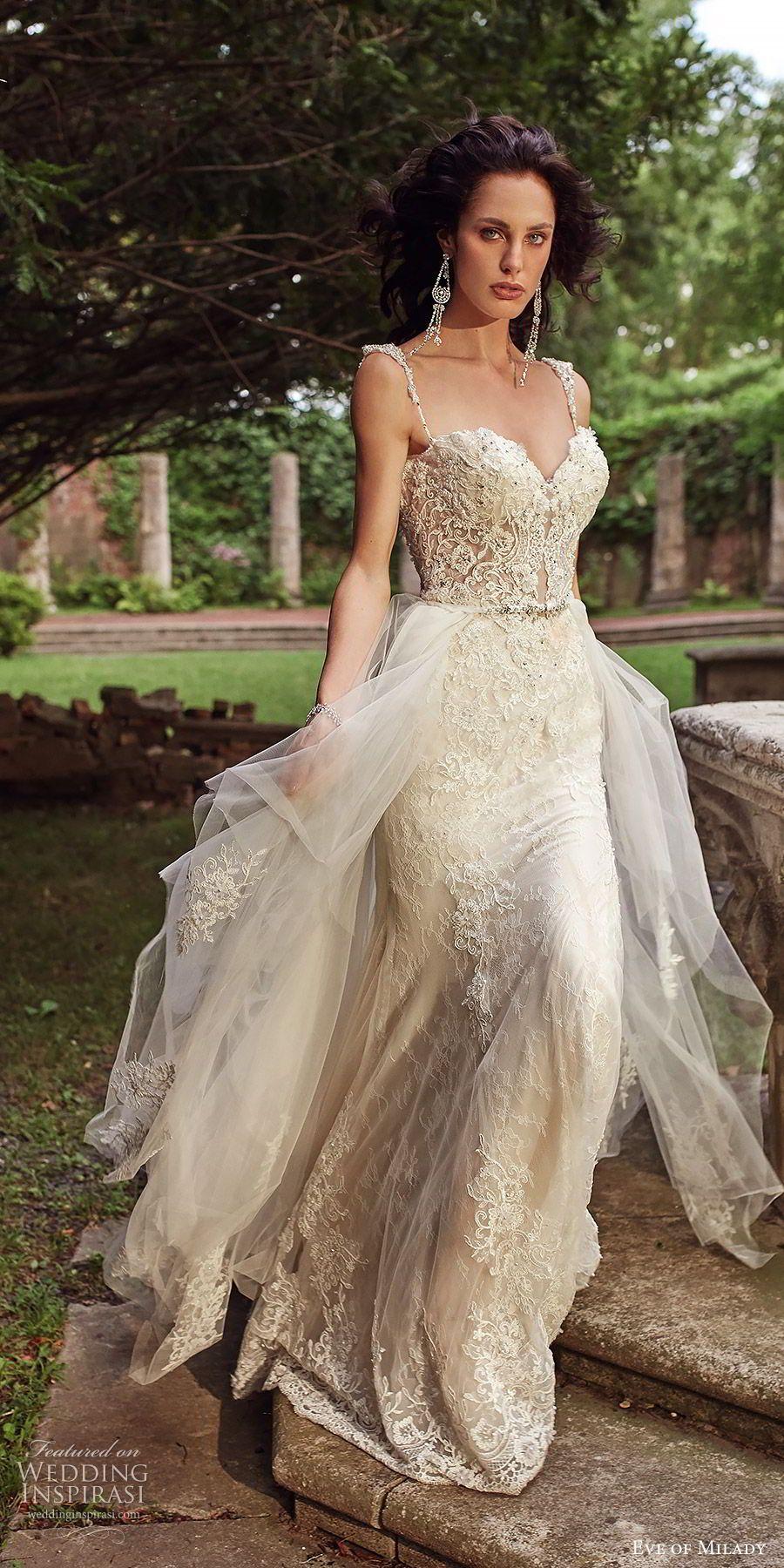 0e6ba786e7f1 eve of milady bridal spring 2018 sleeveless beaded straps sweetheart fully  embellished sheath wedding dress tiered overskirt (1601) ivory gold chapel  train ...