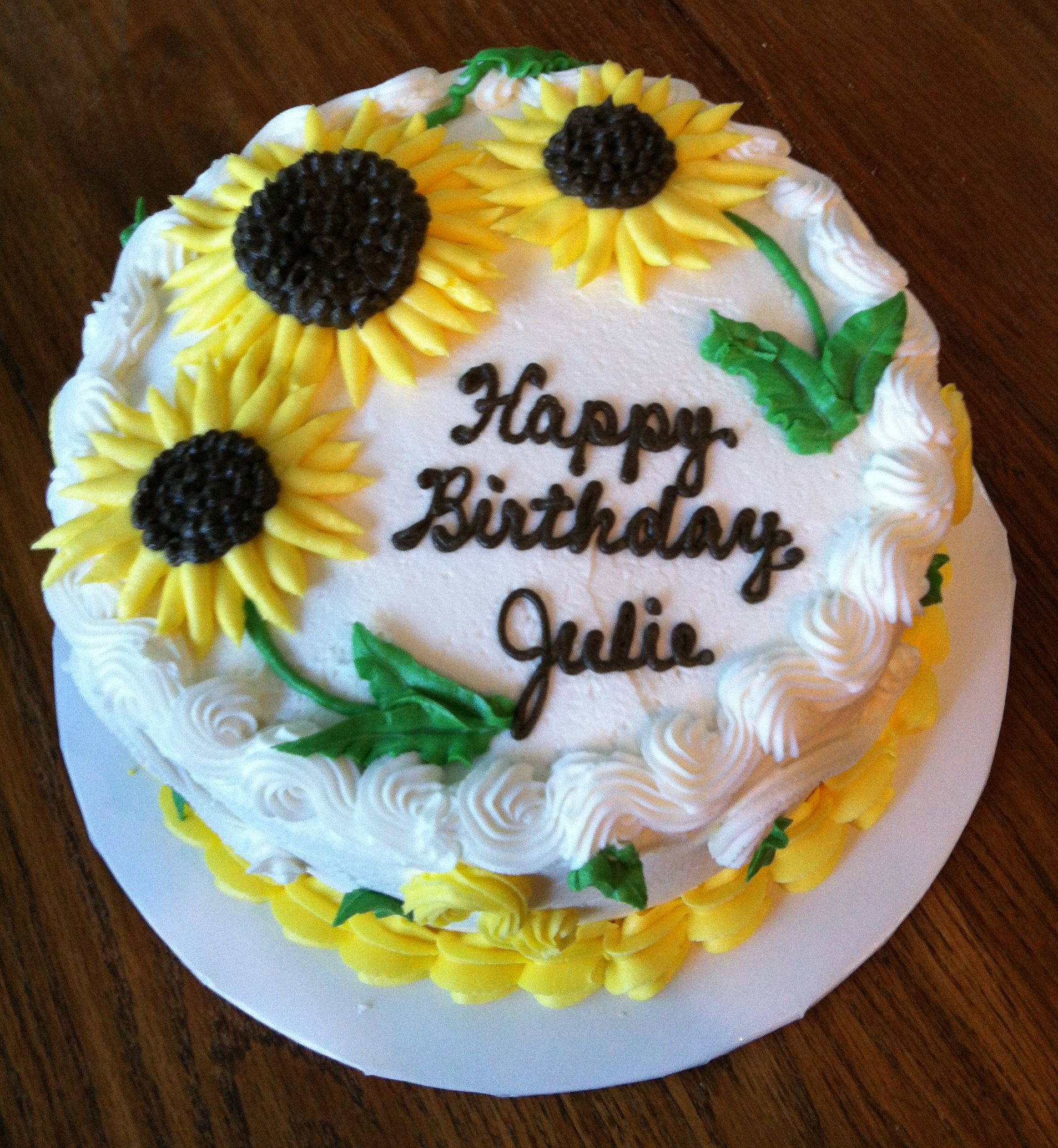 Astounding Sunflower Cake For Julie With Images Round Birthday Cakes Funny Birthday Cards Online Inifodamsfinfo
