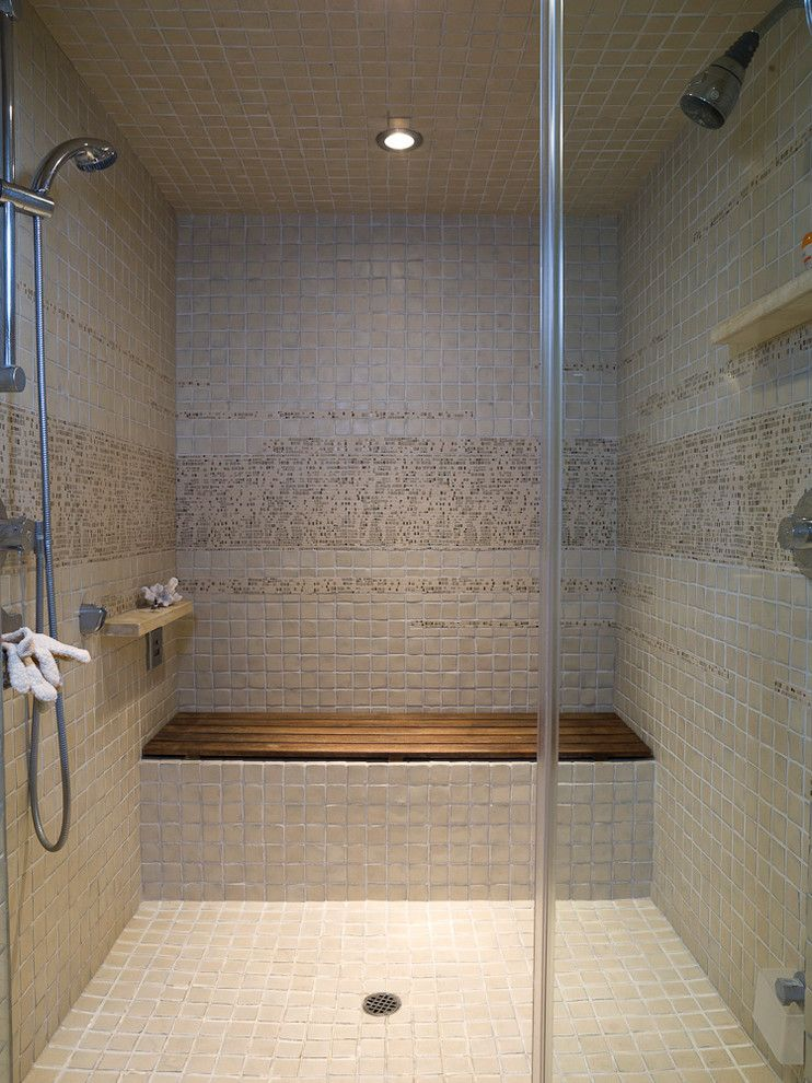Glamorous teak shower bench in bathroom contemporary with wood next to tile pattern alongside and steam also