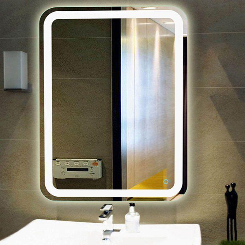 Fab Glass And Mirror Rectangular Led Bathroom Vanity