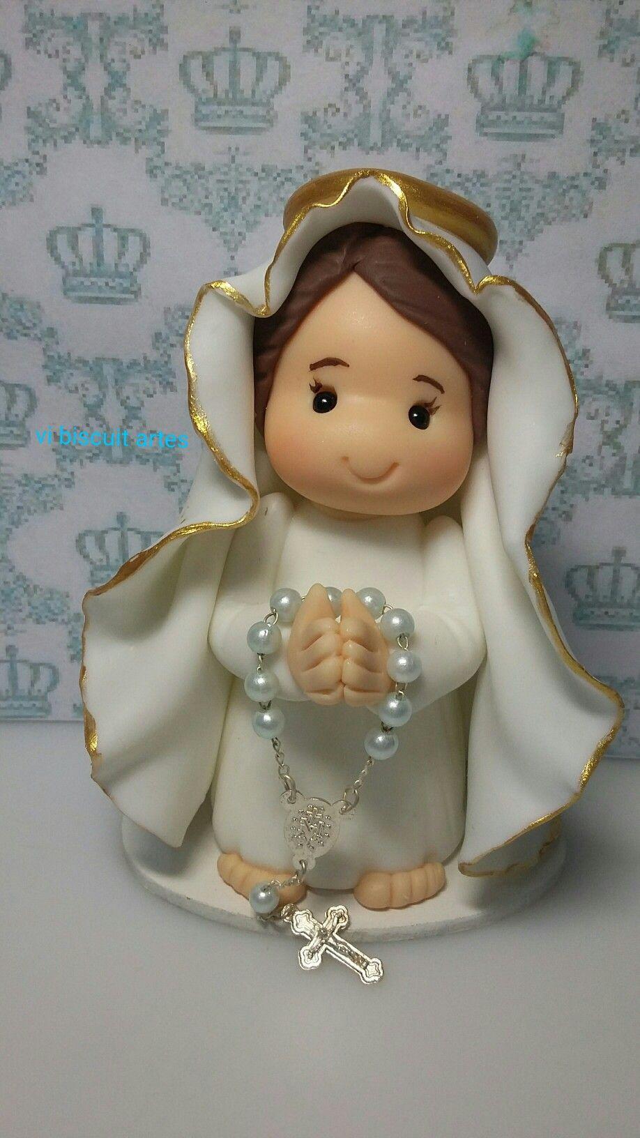Senhora de Fátima  em porcelana fria