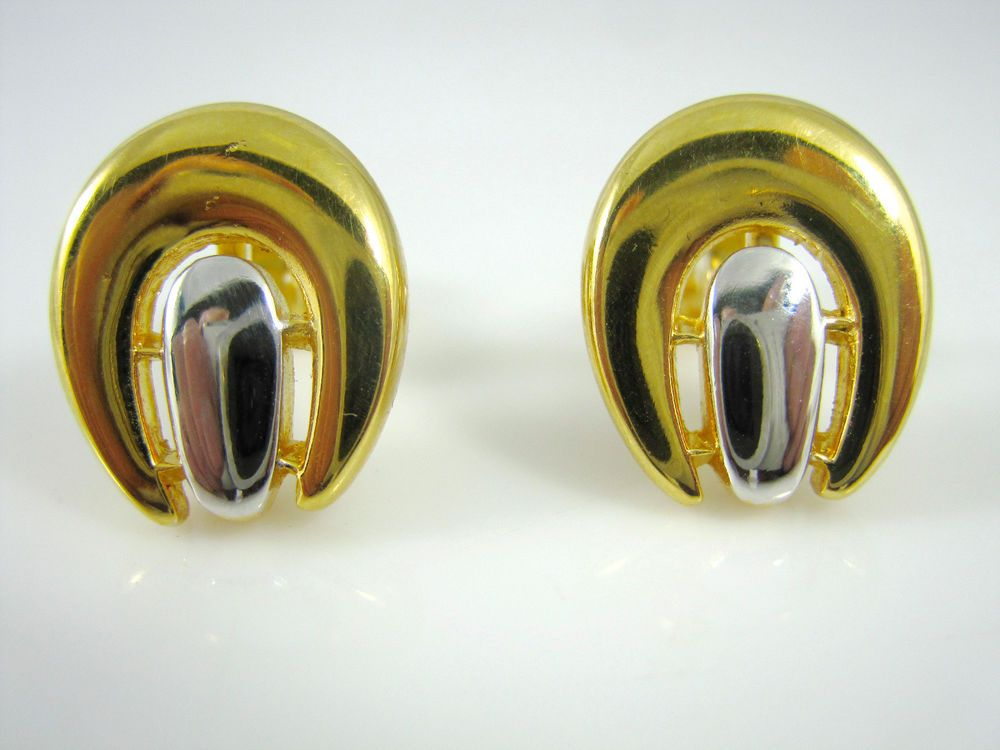 Classic Crown Trifari Gold and Silver Tone Clip On Horseshoe Design Earrings #CrownTrifari #Clipon