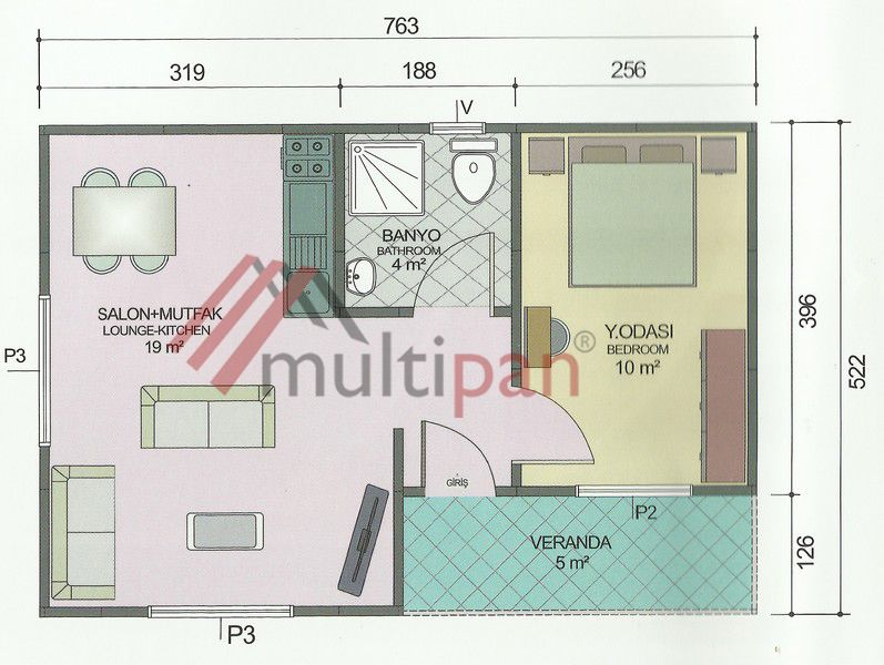 Mp1 40 Square Meters Combined Lounge Kitchen 1 Bedroom 1 Bathroom One Bedroom House Floor Plans Prefabricated Houses