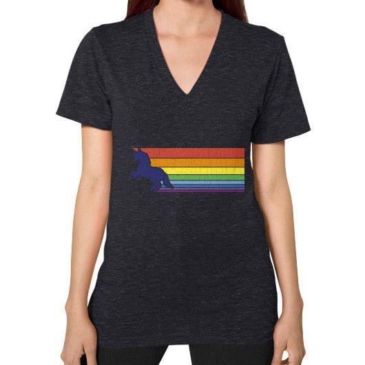 80s Vintage Unicorn Rainbow (distressed look) V-Neck (on woman)
