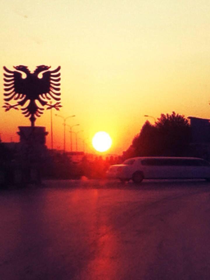 Tirana Sunset Tirana Albania Albanian Flag