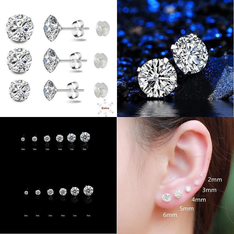 a4afc49ff Sterling Silver Studs Earrings Round Cut Cubic Zirconia 4mm 5mm 6mm Sizes  Platinum-Plated Stud 3 Sets for Women & Men's Ear Piercing